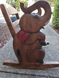 Elephants Child Rocker/rocking Bench Chair Youth Kid Teen Solid Wood Hand Carved
