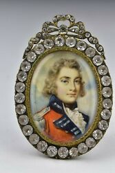 British Military Miniature Painting Gold Mourning Frame 18th / 19th Century