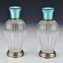 Pair Of American Glass Perfume Bottles With Guilloche Enamel And Sterling Silver