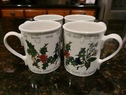 Set Of 4 Portmeirion The Holly And The Ivy Mugs - 1995 Christmas Coffee Cups