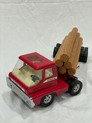 Vintage Red Structo Turbine Log Hauler Toy Truck W/ Trailer And Load 6 Logs