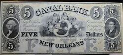 1840's 5 The Canal Bank Banking Company New Orleans, Louisiana Obsolete Note