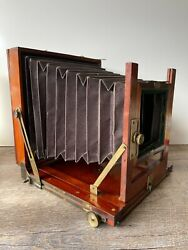 Antique Victorian Wood And Brass Field Camera Folding Unmarked-beautiful Wood