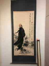 Antique Chinese Hanging Scroll Painting 19th Century Watercolor