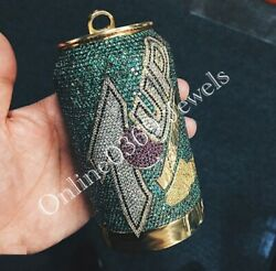 Men's Very Large Customized 7 Up Can Pendant In 14k Yellow Gold Plated Silver