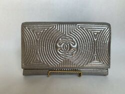 Silver Quilted Evening Clutch W Chain Shoulder Strap, Lambskin