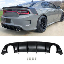Fits 15-21 Dodge Charger Srt R/t Rear Bumper Diffuser Lip Gt Scat Pack Mdp Style