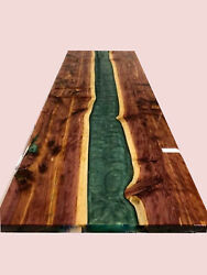 Green Resin River Dining Table Natural Epoxy Table Resin Table Wood Working Art