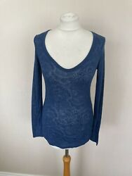 Fab Reiss Washed Blue Devore Jersey Callie T-shirt Top Size Xs Uk 6 Bnwt Andpound49