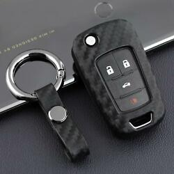 Car Key Fob Chain Ring Case Cover Carbon Fiber Accessories For Chevy Buick Flip