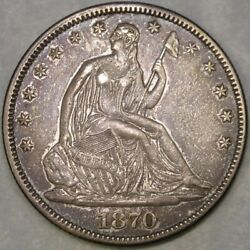 1870 Liberty Seated Silver Half Dollar Gorgeous Beautiful Drapery Hair Feathers