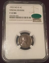 1922 No D 1c Lincoln Cent Strong Reverse Ngc F12 Cac