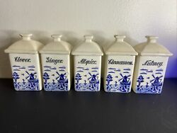 Vintage White And Blue Windmill Spice Jars Gmt Co Germany Set 5 Flaws