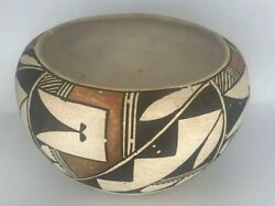 Historic Native American Acoma Pottery Black, White, And Gold Unsigned