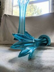 Rare And Gorgeous Dugan Opalescent Blue Flower Vase. 6-point Stretch Great Cond