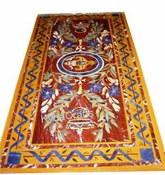 Rectangle Marble Dining Table Top Marquetry Art Kitchen Table 30 X 60 Inches