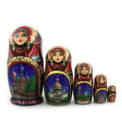 Traditional Russian Matryoshka Nest Doll St Petersburg Attractions 5 Pieces