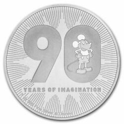 Disney Silver Coin Mickey Mouse 90 Laps Commemoration 2 Oz Sterling 31.1g2018