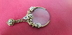 Rare Antique Victorian Filigree Ormalu And Jewels Magnifying Glass