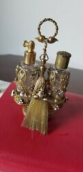 Rare Antique Victorian Filigree Ormalu And Jewels 2 Parfume Bottles With Stand