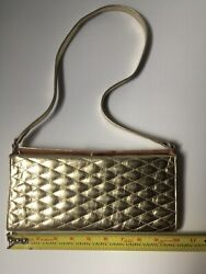 Tusk leather Gold Diamond Matelasse Leather Clutch With Shoulder Strap $20.00