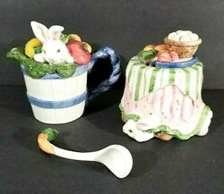Fitz And Floyd Bunny Rabbit Creamer Sugar Bowl W Spoon And Lid 1993 Easter Garden