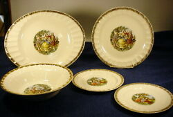 Vintage Cronin China Victorian Colonial Courting Couple Platters, Plates And Bowl