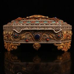 7.4 Collect Chinese Bronze Inlay Gem Wire Inlay Gilding Jewelry Box Statues