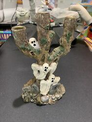 Haunted Halloween Tree And Ghost Graves Candle Holder Triple Spooky Detailed