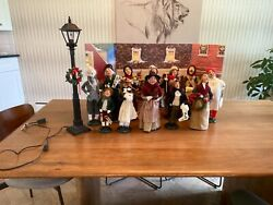 12 Used Byers Choice Carolers With Lamp Read Description