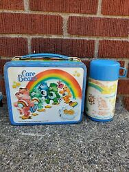 Vtg Care Bears Lunch Box Thermos Metal Blue Aladdin 1983