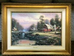 Thomas Kinkade Sunset Atriverbend Farms Paining With Certificate Of Authenticity