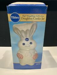 Mint 2003 Pillsbury Doughboy Chef With Red Gingham Mitts Ceramic Cookie Jar Box