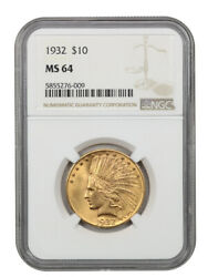1932 10 Ngc Ms64 - Indian Eagle - Gold Coin