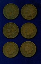 U.s. Indian Head Cents / 1 Penny Coins 1897, 1898, 1902, 1903, 1904, 1909