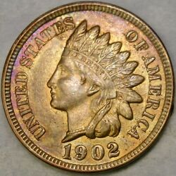 1902/90 Indian Head Penny Repunchd Date Scarce Snow 5 Rpd Magnificent Beautiful