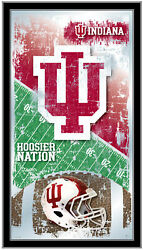 Indiana Hoosiers Hbs Red Football Framed Hanging Glass Wall Mirror 26x15