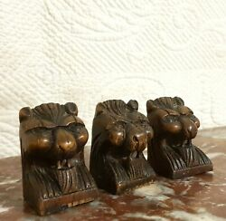 3 Small Lion Wood Carving Newel Post Finial Antique French Architectural Salvage