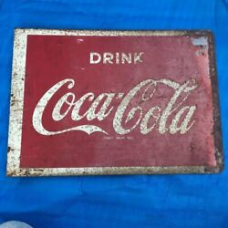 Antique Coca Cola Enameled Signboard Vintage Showa Retro Double-sided Metal Sign