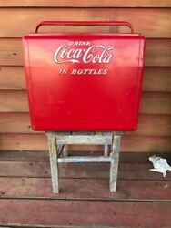 Coke Coca-cola 1950s Red Vintage Metal Cooler Ice Chest Retro Collector's Items