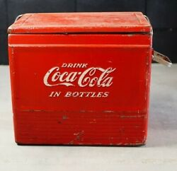 Coke Coca-cola Red Vintage Steel Cooler Ice Chest Retro Collector's Items Usa