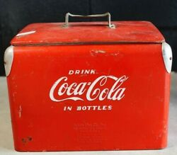 Coke Coca-cola Red Vintage Small Metal Cooler Ice Chest Retro Collector's Items