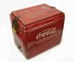 Coke Coca-cola Red Square Vintage Metal Cooler Ice Chest Retro Collector's Items
