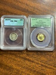 1916-d And 2016-w Mercury Dime Fr2 And Sp70 100 Years Of History