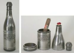 Antique Silver Plated Cigar Decanter Ashtray Shaped Like Champagne Bottle 1921