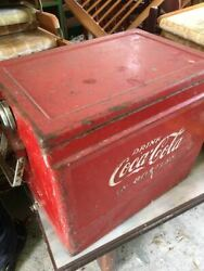 Coca-cola Red Square Vintage Metal Cooler Ice Chest Retro Collector's Items