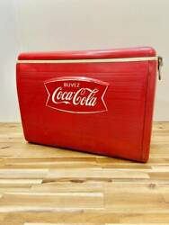 Coca-cola Red Vintage Metal Cooler Ice Chest 1960s Retro Collector's Items