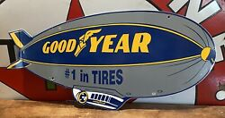 Vintage Goodyear Gas And Oil Dealer Plate Porcelain Sign 25 X 12 In.