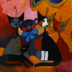Rare Goebel Rosina Wachtmeister Cat Friends Hand Painting Wooden Frame Signed
