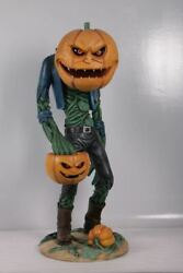 Scary Pumpkin Man With Candy Holder Halloween Decoration
